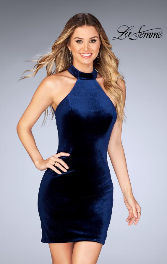 Picture of: High Neck Velvet Dress with Open Back in Navy, Style: 25032, Main Picture
