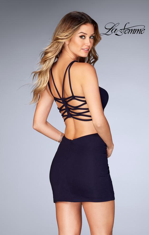 Picture of: Tight Jersey Dress with Separating Straps in Back in Navy, Style: 25058, Main Picture