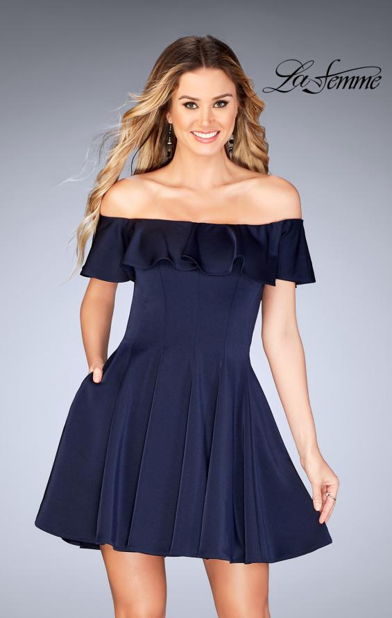 Picture of: A-line Short Satin Dress with Off the Shoulder Detail in Navy, Style: 25070, Main Picture