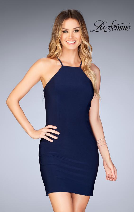 Picture of: Short Halter Homecoming Dress with Criss Cross Back in Navy, Style: 25141, Main Picture
