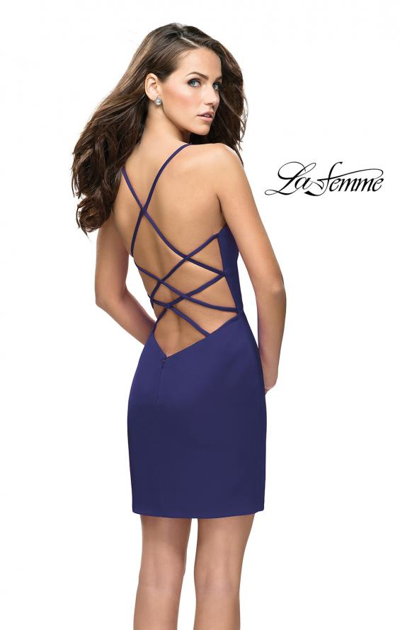 Picture of: Form Fitting Homecoming Dress with Strappy Open Back in Navy, Style: 26638, Main Picture