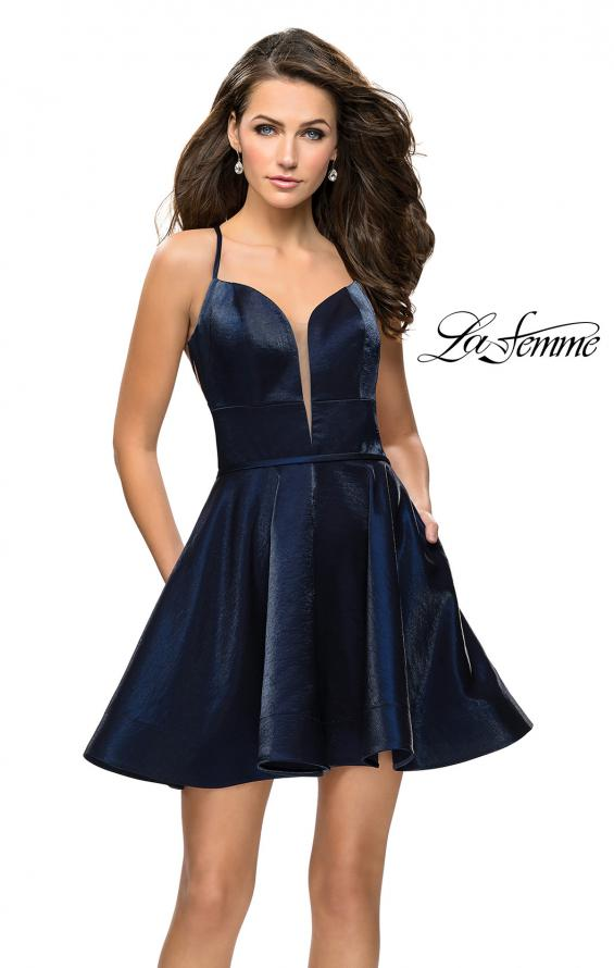 Picture of: Fit and Flare Satin Short Dress with Deep Neckline in Navy, Style: 26659, Main Picture