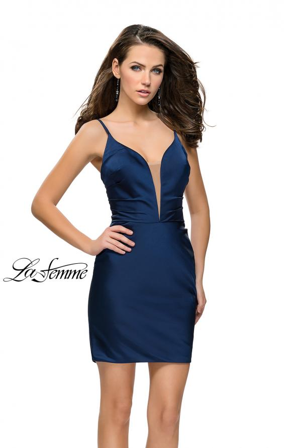 Picture of: Elegant Satin Homecoming Dress with Cut Out Back Detailing in Navy, Style: 26722, Main Picture