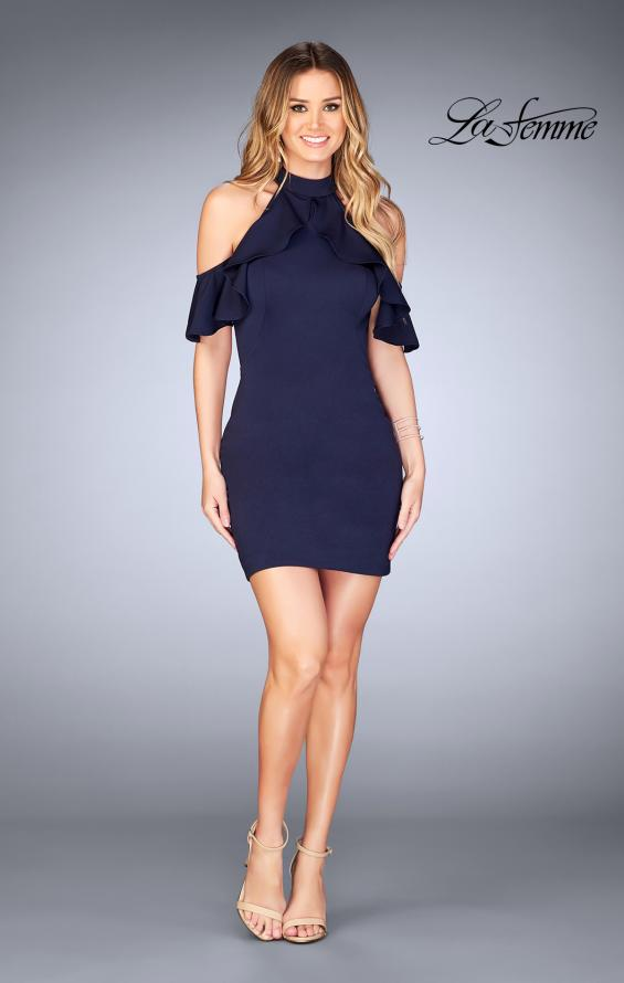 Picture of: Ruffle Halter Top Dress with Tight Jersey Skirt, Style: 25147, Detail Picture 10