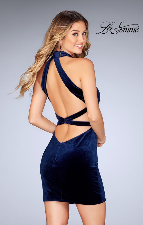 Picture of: High Neck Velvet Dress with Open Back in Navy, Style: 25032, Back Picture