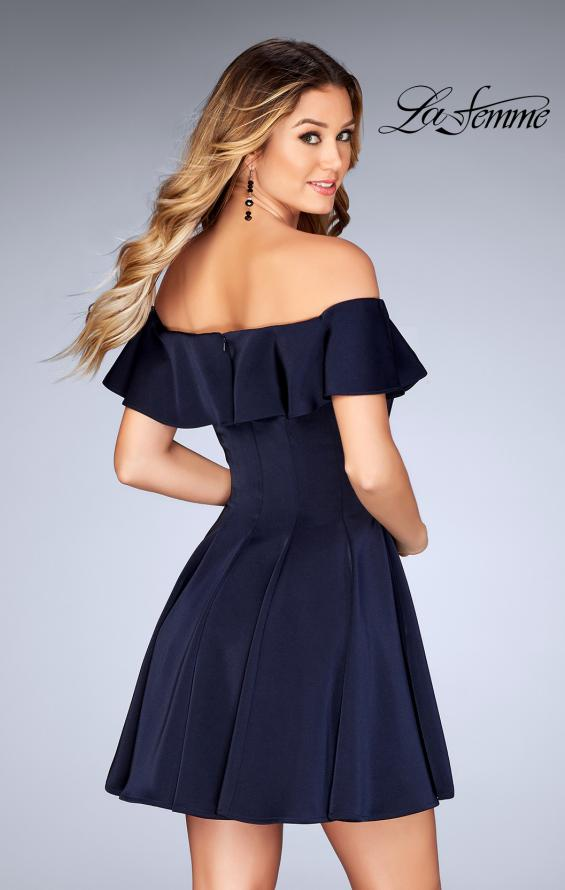 Picture of: A-line Short Satin Dress with Off the Shoulder Detail in Navy, Style: 25070, Back Picture