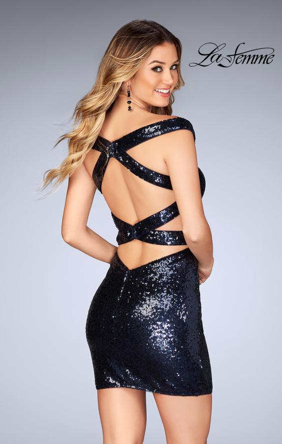 Picture of: Off the Shoulder Short Sequin Dress with Strappy Back, Style: 25085, Back Picture