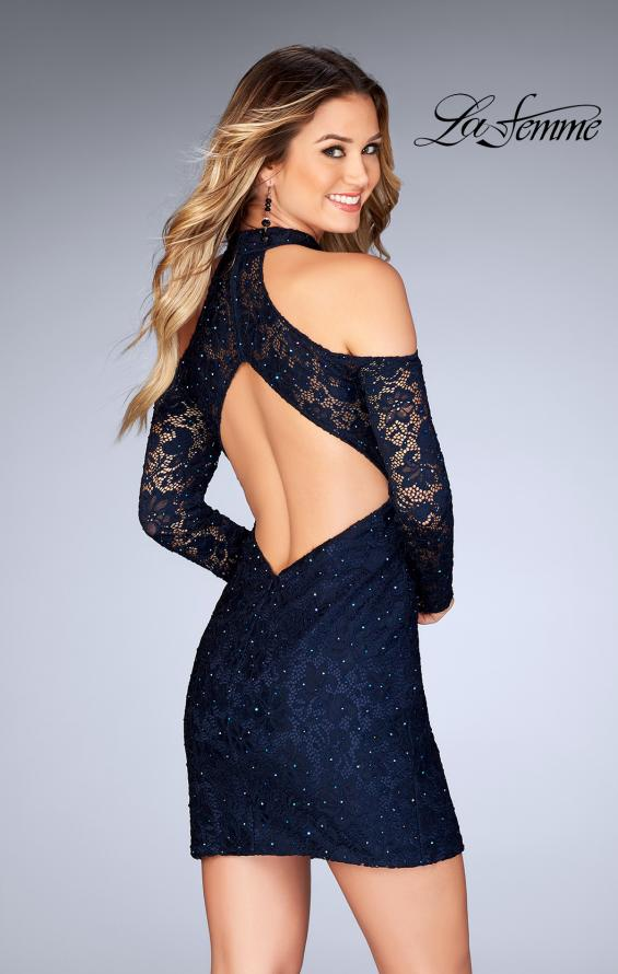 Picture of: Short Lace Dress with Shoulder Cut Outs and Open Back in Navy, Style: 25170, Back Picture
