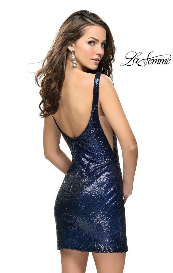 Picture of: Sequin Short Mini Dress with Low Scoop Back in Navy, Style: 26614, Back Picture