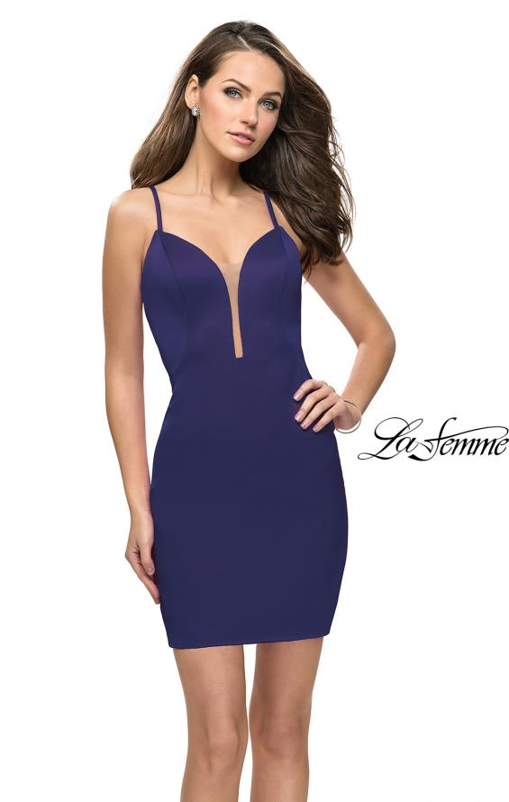 Picture of: Form Fitting Homecoming Dress with Strappy Open Back in Navy, Style: 26638, Back Picture