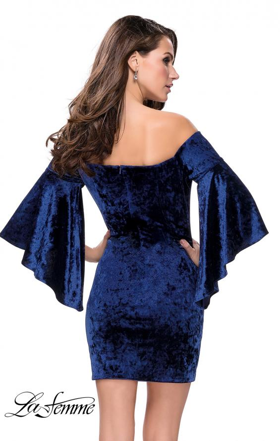 Picture of: Trendy Velvet Dress with Off the Shoulder Bell Sleeves in Navy, Style: 26640, Back Picture