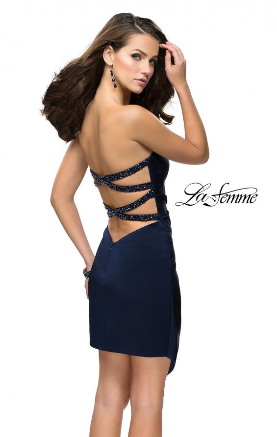 Picture of: Strapless Jersey Short Dress with Asymmetrical Skirt, Style: 26669, Back Picture