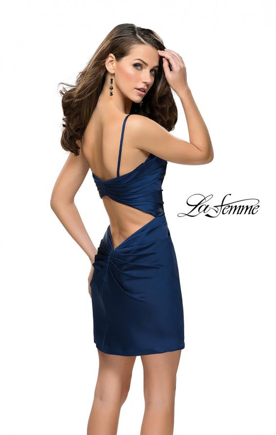 Picture of: Elegant Satin Homecoming Dress with Cut Out Back Detailing in Navy, Style: 26722, Back Picture