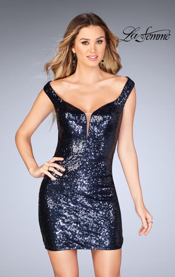 Picture of: Off the Shoulder Short Sequin Dress with Strappy Back, Style: 25085, Detail Picture 1
