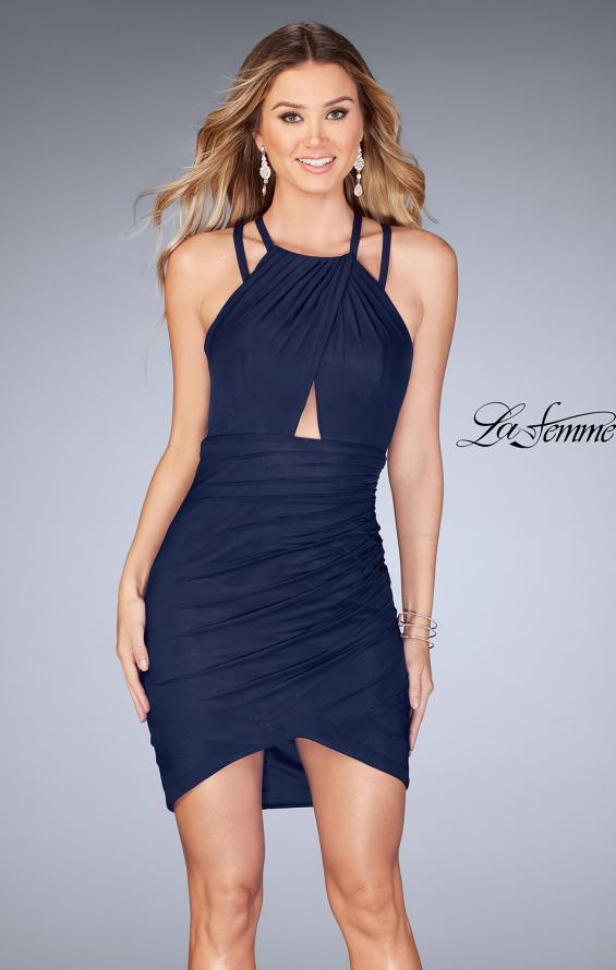 Picture of: Gathered Jersey Short Dress with Key Hole Back, Style: 25109, Detail Picture 1