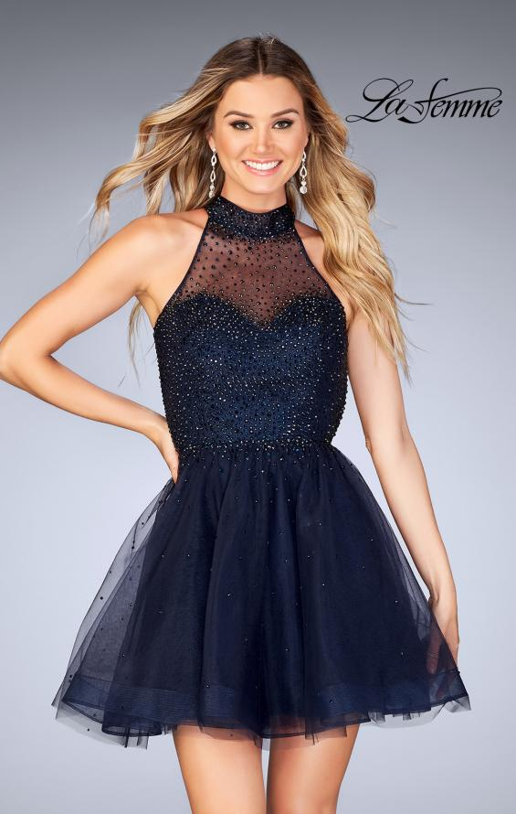 Picture of: Short Tulle Dress with High Neckline and Beading, Style: 25293, Detail Picture 1