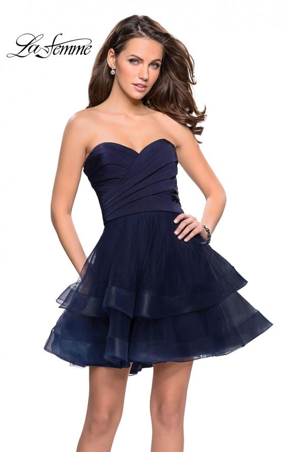Picture of: Short Homecoming Dress with Tiered Tulle Skirt, Style: 26654, Detail Picture 1