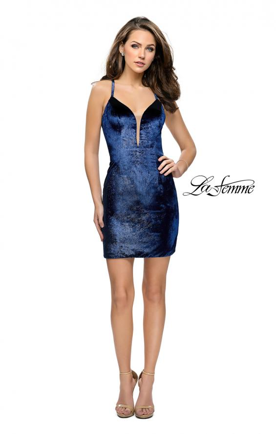 Picture of: Form Fitting Velvet Short Dress with Open Back, Style: 26700, Detail Picture 1