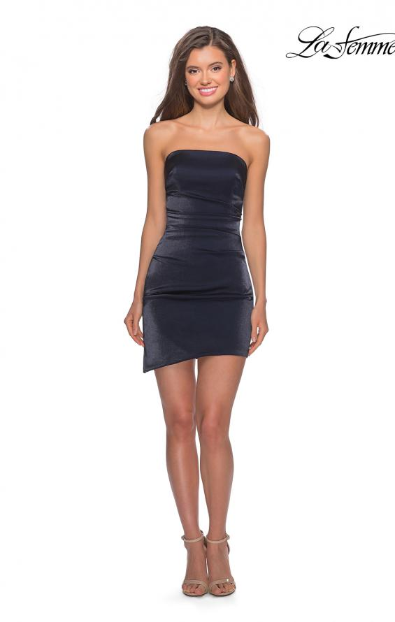 Picture of: Satin Asymmetrical Strapless Homecoming Dress in Navy, Style: 28187, Detail Picture 1