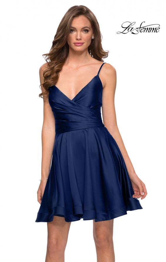 Picture of: Satin Homecoming Dress with Cut Out Corset Style Back in Navy, Style: 29242, Detail Picture 1