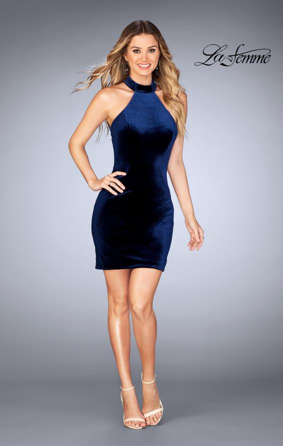 Picture of: High Neck Velvet Dress with Open Back in Navy, Style: 25032, Detail Picture 2