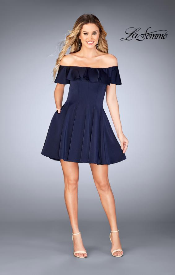 Picture of: A-line Short Satin Dress with Off the Shoulder Detail in Navy, Style: 25070, Detail Picture 2