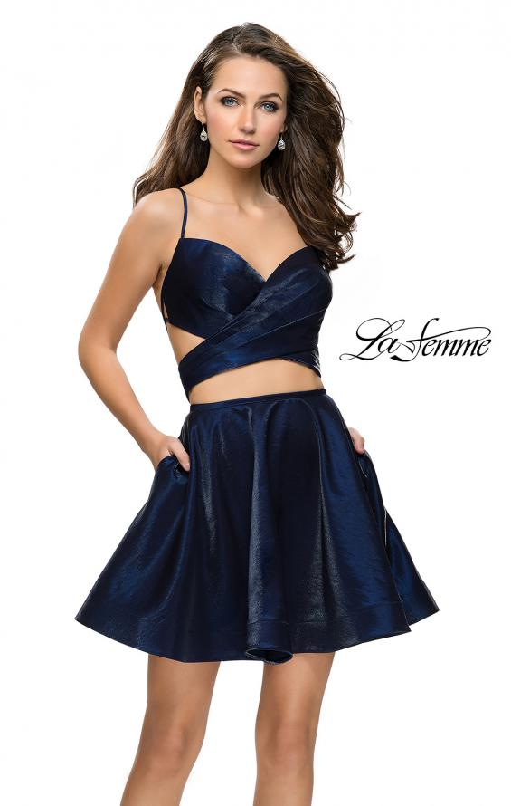 Picture of: Short Two Piece Homecoming Dress Set with Wrap Top, Style: 26683, Detail Picture 2