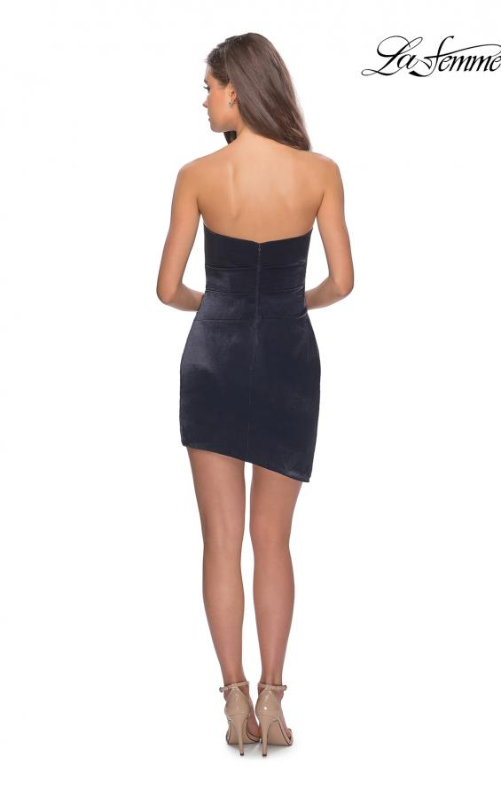 Picture of: Satin Asymmetrical Strapless Homecoming Dress in Navy, Style: 28187, Detail Picture 2