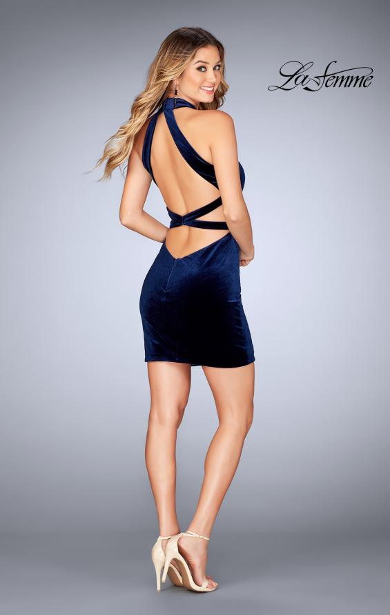 Picture of: High Neck Velvet Dress with Open Back in Navy, Style: 25032, Detail Picture 3
