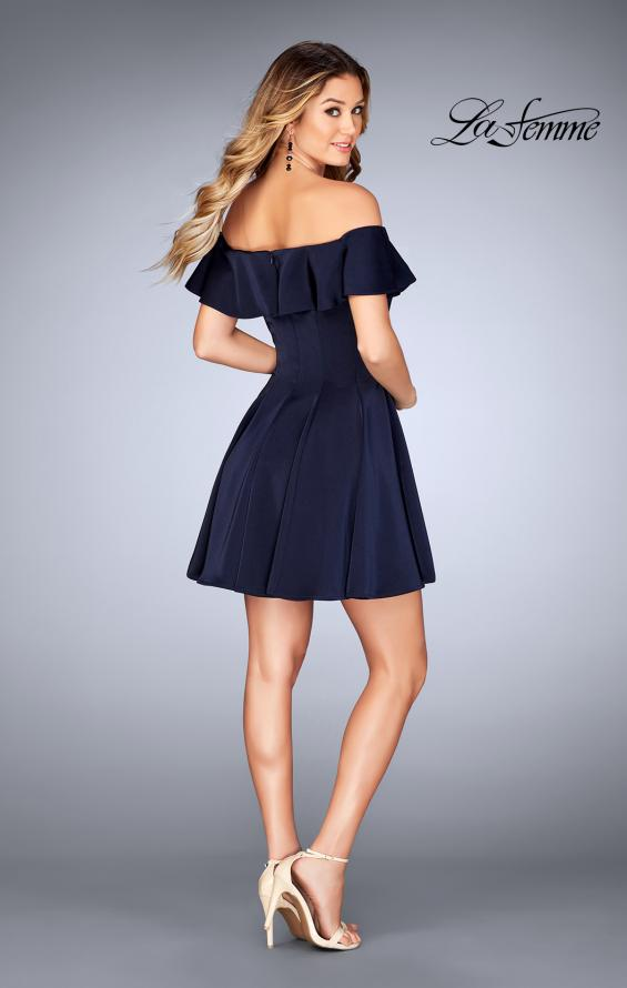 Picture of: A-line Short Satin Dress with Off the Shoulder Detail in Navy, Style: 25070, Detail Picture 3