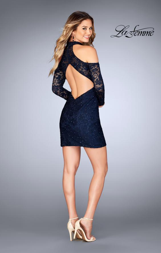 Picture of: Short Lace Dress with Shoulder Cut Outs and Open Back in Navy, Style: 25170, Detail Picture 3