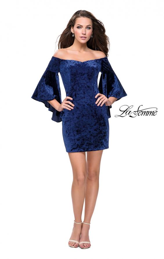 Picture of: Trendy Velvet Dress with Off the Shoulder Bell Sleeves in Navy, Style: 26640, Detail Picture 3