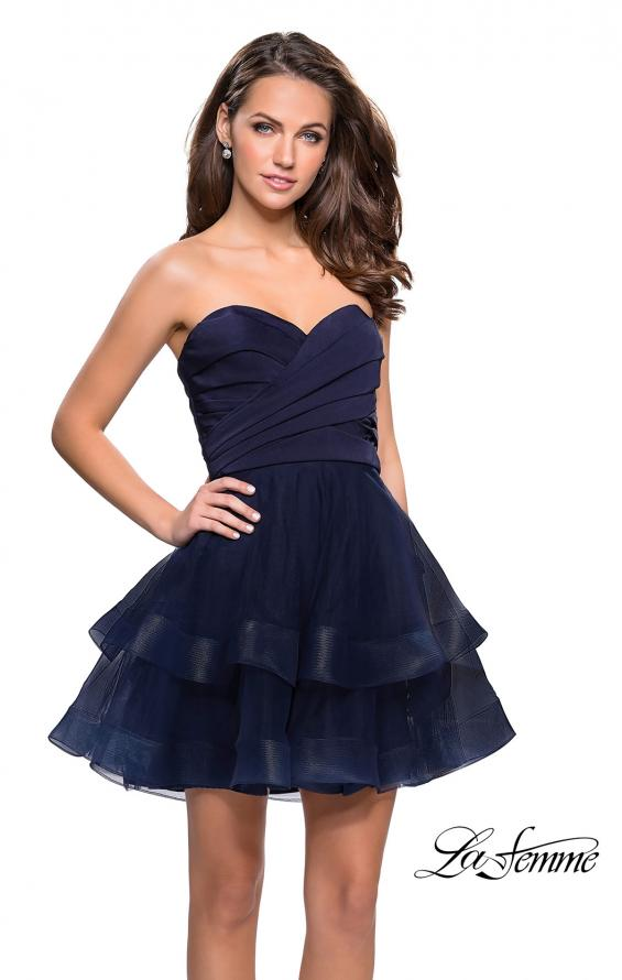 Picture of: Short Homecoming Dress with Tiered Tulle Skirt, Style: 26654, Detail Picture 3