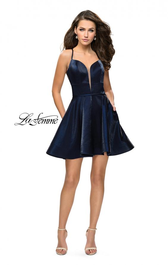 Picture of: Fit and Flare Satin Short Dress with Deep Neckline in Navy, Style: 26659, Detail Picture 3