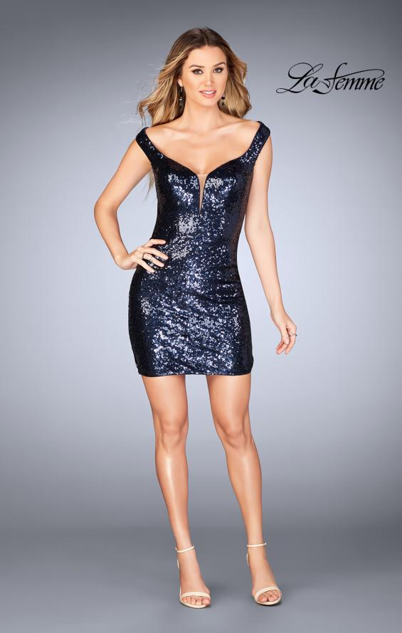 Picture of: Off the Shoulder Short Sequin Dress with Strappy Back, Style: 25085, Detail Picture 4