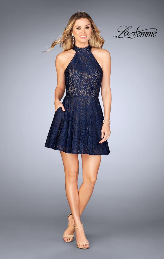 Picture of: Short Halter Top Dress with Scallop Keyhole Back in Navy, Style: 25099, Detail Picture 4