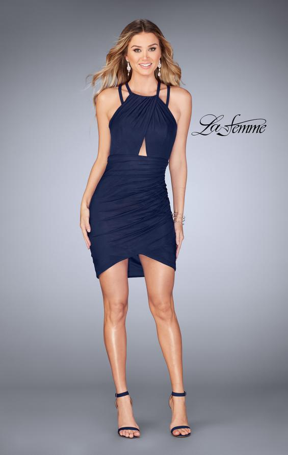 Picture of: Gathered Jersey Short Dress with Key Hole Back, Style: 25109, Detail Picture 4