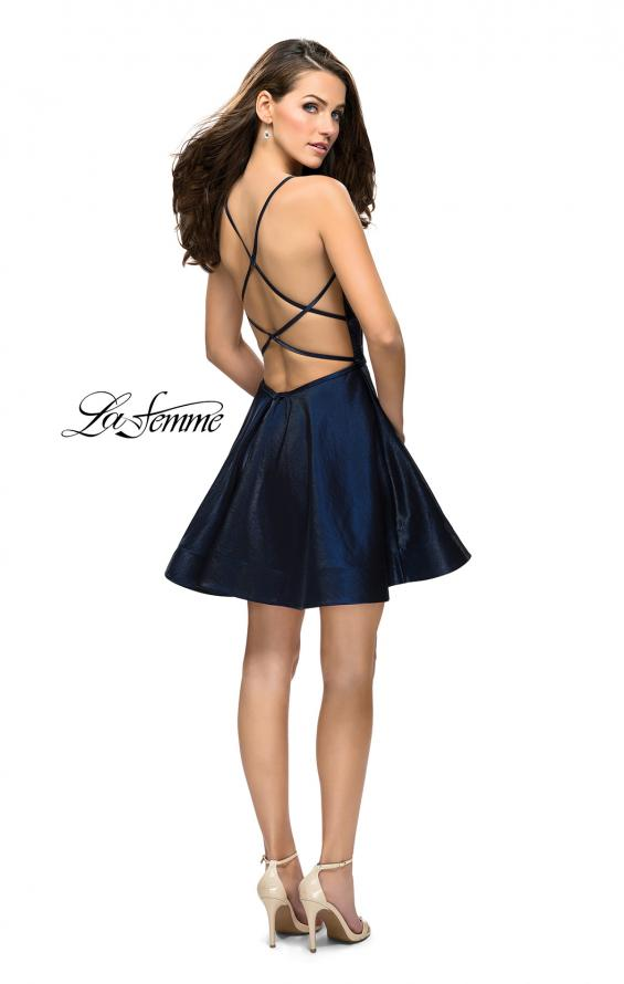 Picture of: Fit and Flare Satin Short Dress with Deep Neckline in Navy, Style: 26659, Detail Picture 4