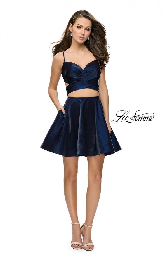Picture of: Short Two Piece Homecoming Dress Set with Wrap Top, Style: 26683, Detail Picture 4