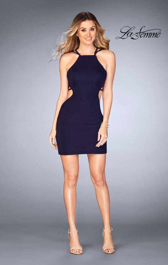 Picture of: Tight Jersey Dress with Separating Straps in Back in Navy, Style: 25058, Detail Picture 5