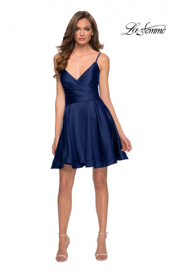 Picture of: Satin Homecoming Dress with Cut Out Corset Style Back in Navy, Style: 29242, Detail Picture 5