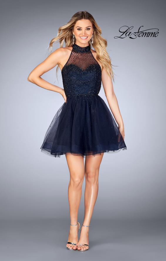 Picture of: Short Tulle Dress with High Neckline and Beading, Style: 25293, Detail Picture 6