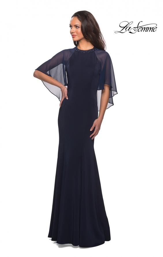 Picture of: Long Gown with sheer sleeves and beaded neckline in Navy, Style: 25006, Main Picture