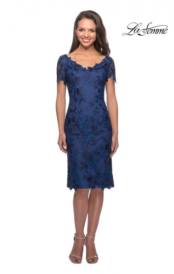 Picture of: Short Sleeve Knee Length Lace Dress with V-Neck in Navy, Style: 25522, Main Picture