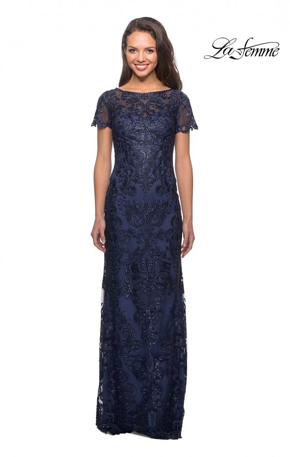 Picture of: Long Lace Dress with Rhinestones and Short Sleeves in Navy, Style: 26405, Main Picture