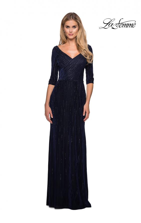 Picture of: Long Velvet Beaded Dress with Three Quarter Sleeves in Navy, Style: 26456, Main Picture