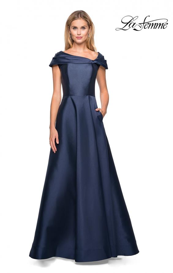 Picture of: Long A-Line Off the Shoulder Gown with Pockets in Navy, Style: 26877, Main Picture