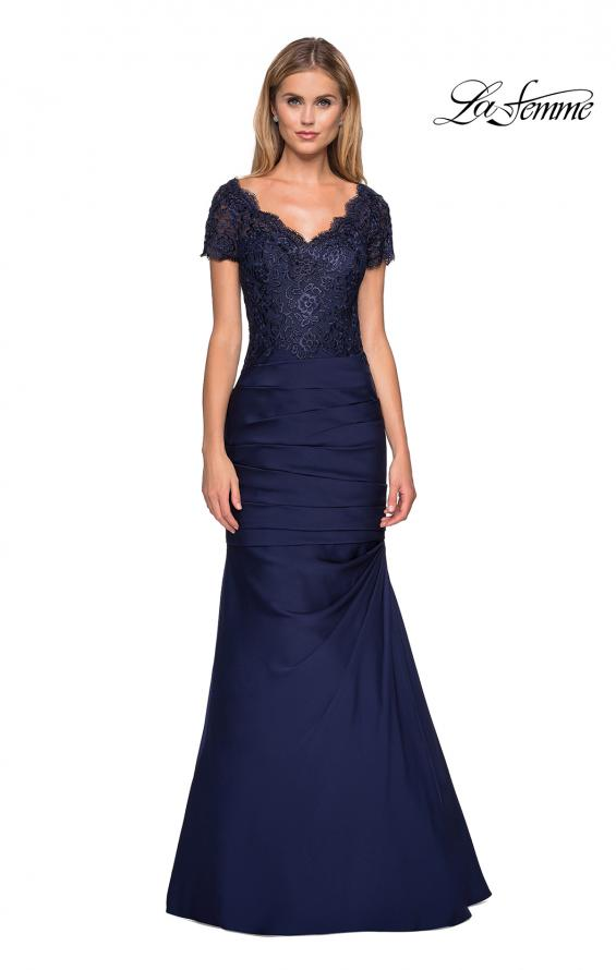 Picture of: Floor Length Satin Dress with Lace Rhinestoned Bodice, Style: 26979, Main Picture