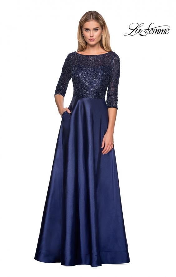 Picture of: Long Mikado Gown with Beaded Top and Pockets in Navy, Style: 27077, Main Picture