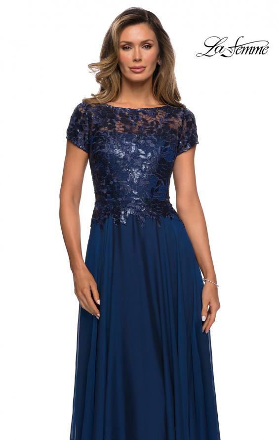 Picture of: Short Sleeve Metallic Lace Evening Dress with Chiffon Skirt in Navy, Style: 27924, Main Picture
